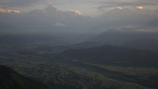 Pokhara Nepal Himalaya Mountain Machapuchare Fish Tail Cityscape Sunrise Time Lapse