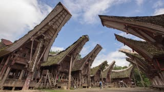 Tana Toraja Indonesia Pallawa Village Traditional Houses Architecture Time Lapse