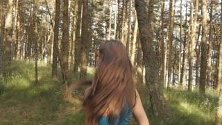 Athlete runs through the thicket