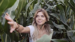 Beautiful girl smiling in corn often