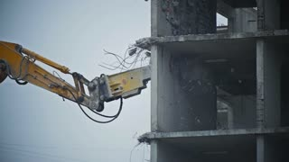 Demolition of walls on a building site