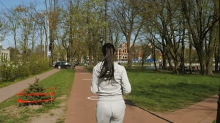 Following a running woman