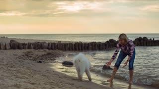 Girl Having fun With Dog