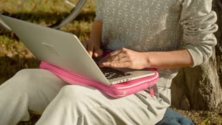 Girl working at a laptop