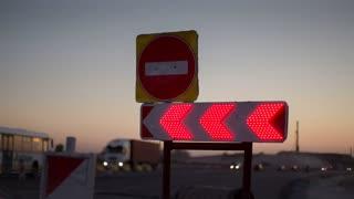 Sign of detour road works