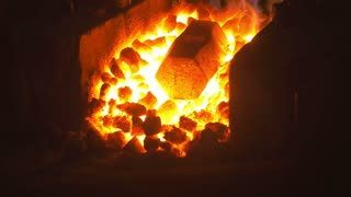 The coals in the firebox