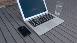 The laptop on the desktop