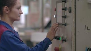 Woman Enter data on the machine