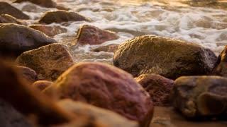 Waves wash ashore sea