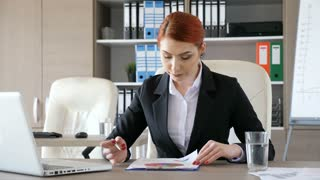 Businesswoman in her office signing some papers. Corporate lifestyle