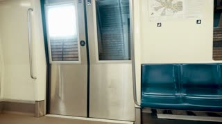 Inside the subway. Traveling with underground train