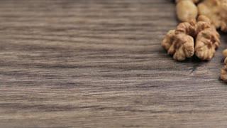 Nuts on wooden vintage background