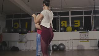 Practicing latino bachata dance style. Slow motion footage