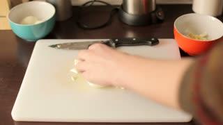 Preparing dinner with cut eggs