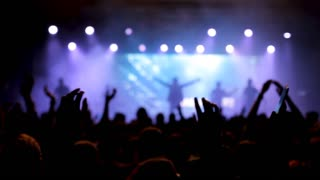 Rock fans dancing and enjoying a perfomamce on the stage. Hands in the air and lots of fun at a rock concert.