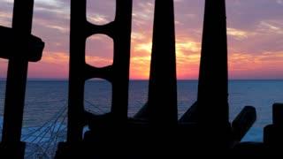 Scenic beautiful sunrise over the sea. Travel and nature