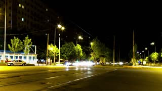 Time lapse ov moving cars in the city in the night