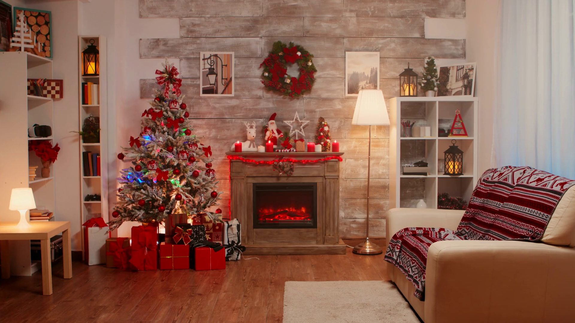 Zoom In Shot Of Room Decorated For Christmas Holiday Winter Holiday Stock Video Footage Storyblocks