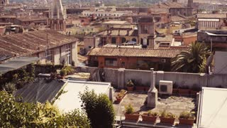Aerial shot of Italian town, traditional Italian skyline. Panorama of old houses and traditional Italian roofs. Travelling time. Tourist attraction. Beautiful scenery, summertime, day, sunny weather.