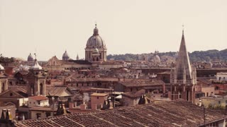 Amazing, beautiful view of Italian medieval town. Typical Italian rooftops. Journey time. Beautiful scenery, summertime, day, sunny weather. No people around. Outside shooting. Medieval atmosphere.