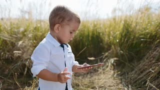 Adorable toddler-boy stands in the middle of high-grass, holds the smartphone, being a young blogger. Positive emotions. Having fun, modern children, being online.