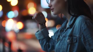 Attractive young woman in jeans jacket enjoying the moment, posing to camera. night city lights on the background. Joy of life, active lifestyle. Slow motion, camera stabilizer shot, female portrait