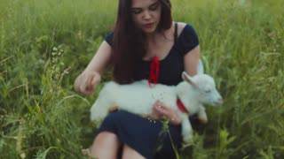 Beautiful brunette girl in a dress sitting in high green grass and holding the white goat kid, feeds it with grass and strokes it. Nature lover, enjoying life. Cheerful mood.