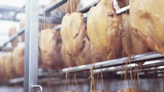 Close up view of hanging manufactured smoked chickens. Junk food, calories. Manufactured industry, food production. Fast food, unhealthy lifestyle.