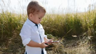 Sweet baby-blogger stands in the middle of field, uses smartphone, playing games, posting photos. Having fun, modern children, being online