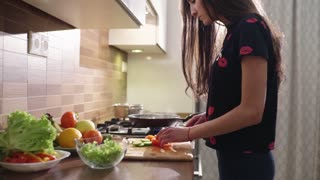 The beautiful woman with the black hair is cooking breakfast at home. She makes some fresh salad with green lettuce, cucumbers and also red juicy tomatoes.