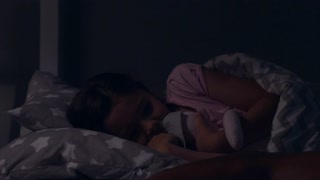 Caring father wishing sweet dreams to his little daughter