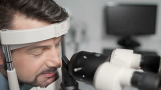 Close up of patient undergoing eye test
