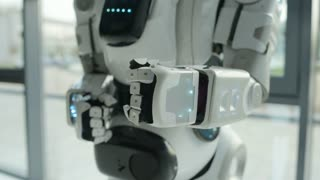 Close up of robot stretching hand