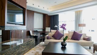 Fashionable interior design in urban hotel room