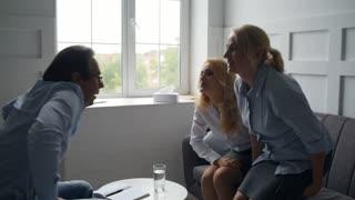 Happy women being grateful to psychologist