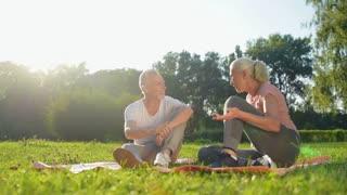 Joyful elderly couple starting doing physical exercises in the park