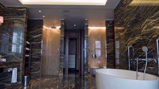Luxury marble bathroom interior in city hotel