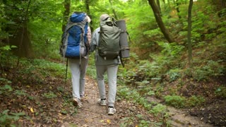 Nice elderly couple walking along the path in the forest