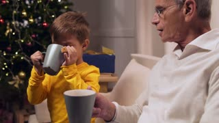 Positive little boy drinking tea with his loving grandfather