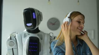 Smart robotic machine dancing while girl singing