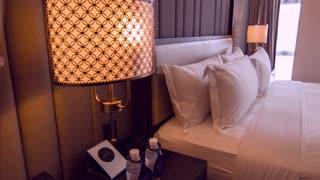 Stylish interior design in hotel bedroom