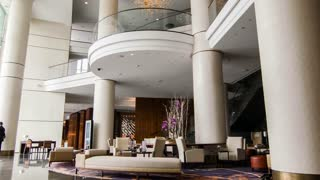 View of modern edgy hotel lobby