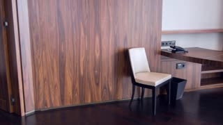 Wooden paneling interior in modern hotel living room