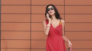 Cheerful young woman with shopping bags talking on the phone