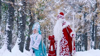 Portrait of man and woman in New Year costumes having fun in snowy forest