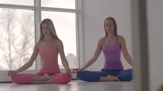 Two lovely calm yoga women meditating in lotus pose together