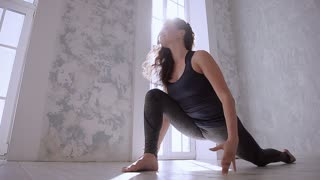 Very flexible woman stretching