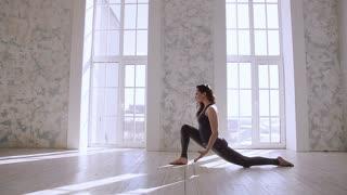 Woman stretching training