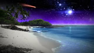 A calm, surreal beach scene with sparkling blue waters, white sand, and a night sky filled with stars and a red comet