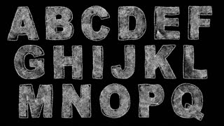 A loop-able animated font drawn in chalk, with an animated chalkboard background in the last 5 seconds. Crop out the letters you need, loop them, and composite them over the background to create a realistic chalkboard title.